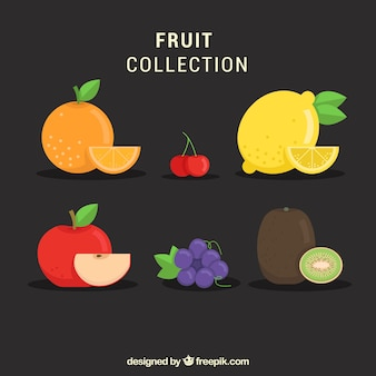 Various fruits in flat design