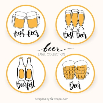 Various hand drawn beer round stickers