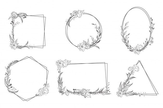 Various hand drawn floral geometric frames set