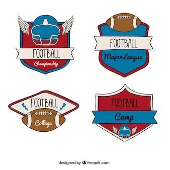 Various hand drawn football badges