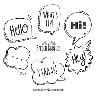 Various hand drawn speech bubbles
