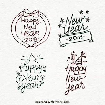 Various hand drawn stickers of happy new year