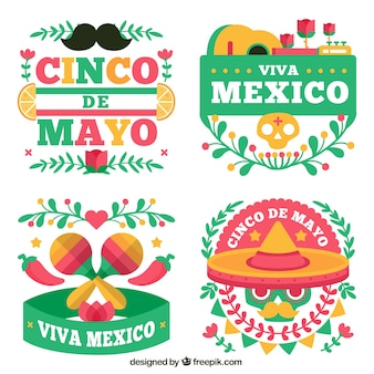 Various mexican party stickers in flat design