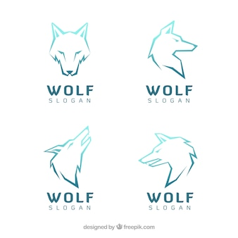 Various modern logos of wolves