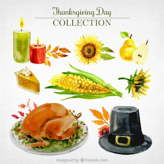 Various objects and tasty thanksgiving food in watercolor effect