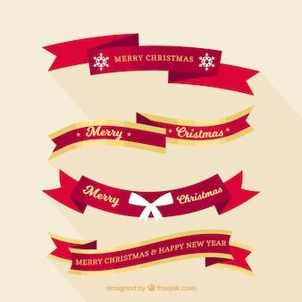様々な装飾的なクリスマスリボン