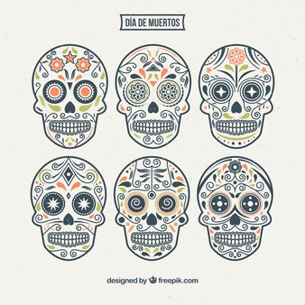 Various ornamental hand-drawn skulls