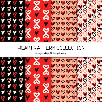 Various patterns of hand drawn hearts