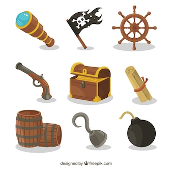 Various pirate items and treasure chest