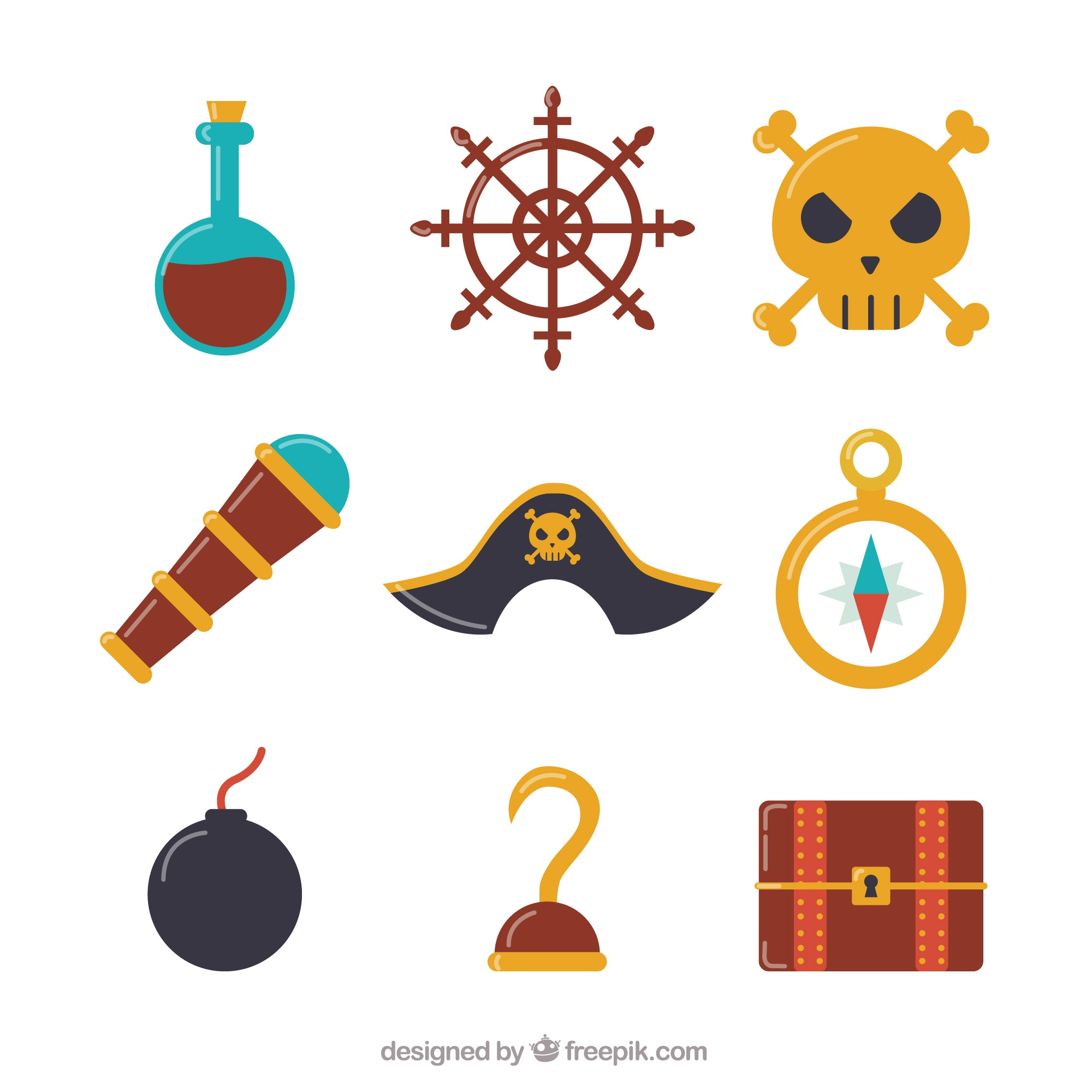 Various pirate objects in flat design