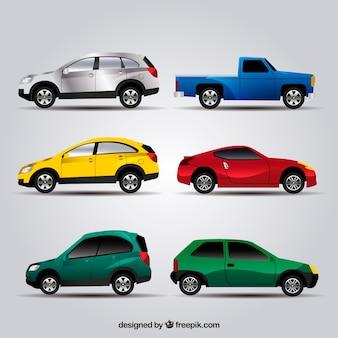 様々な現実的な色の車