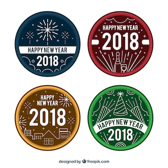 Various retro stickers for new year celebration