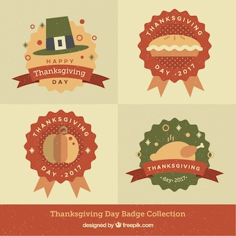Various retro thanksgiving badges in flat design