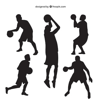 Various silhouettes of basketball players