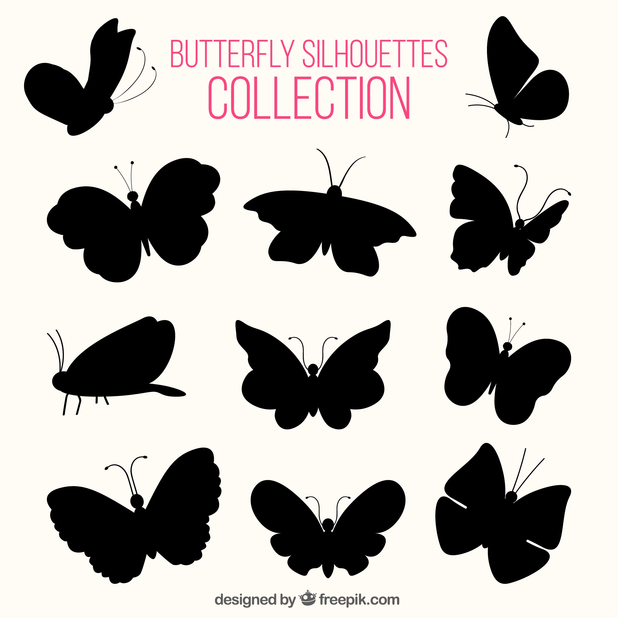 Various silhouettes of butterflies