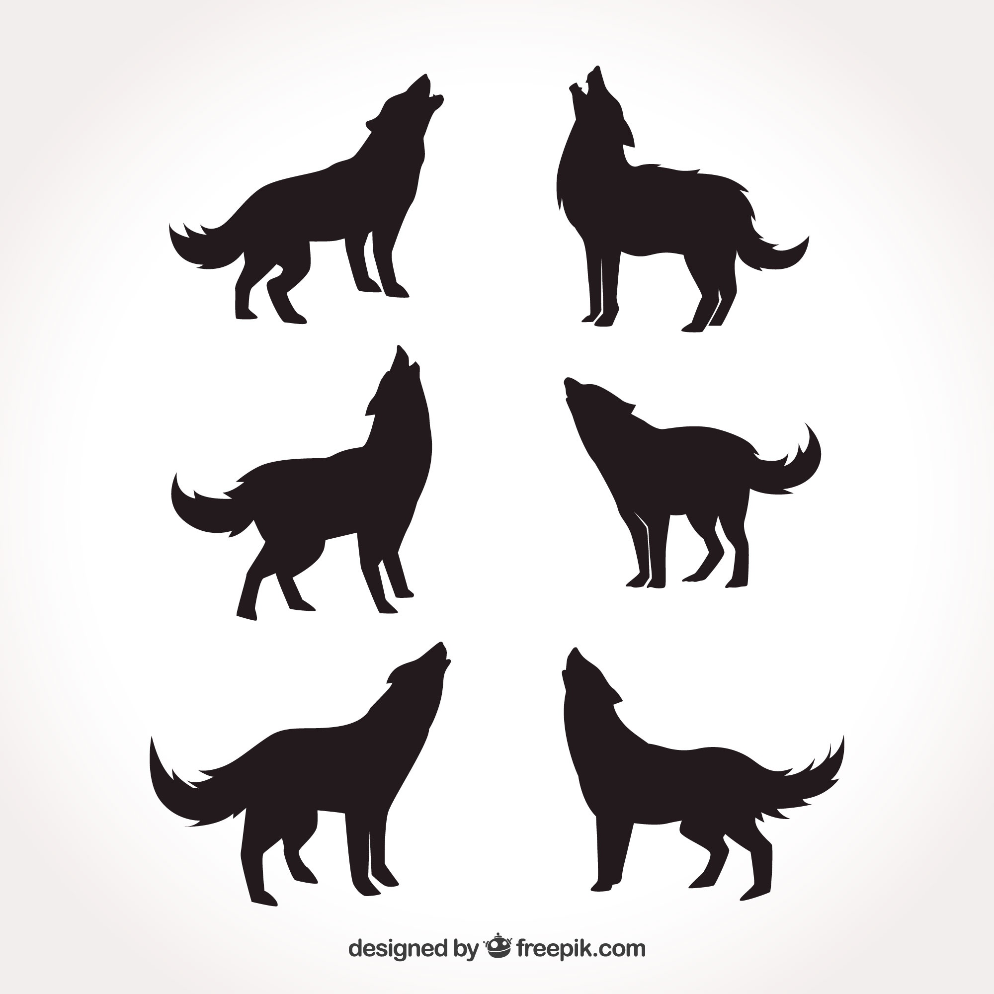 Various silhouettes of wolves