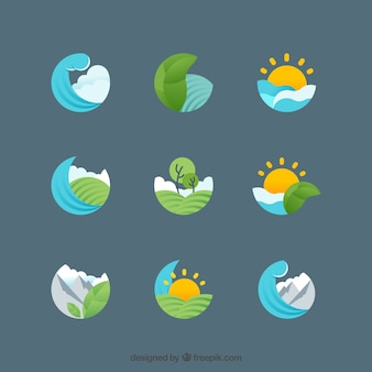 Various symbols of nature in flat design
