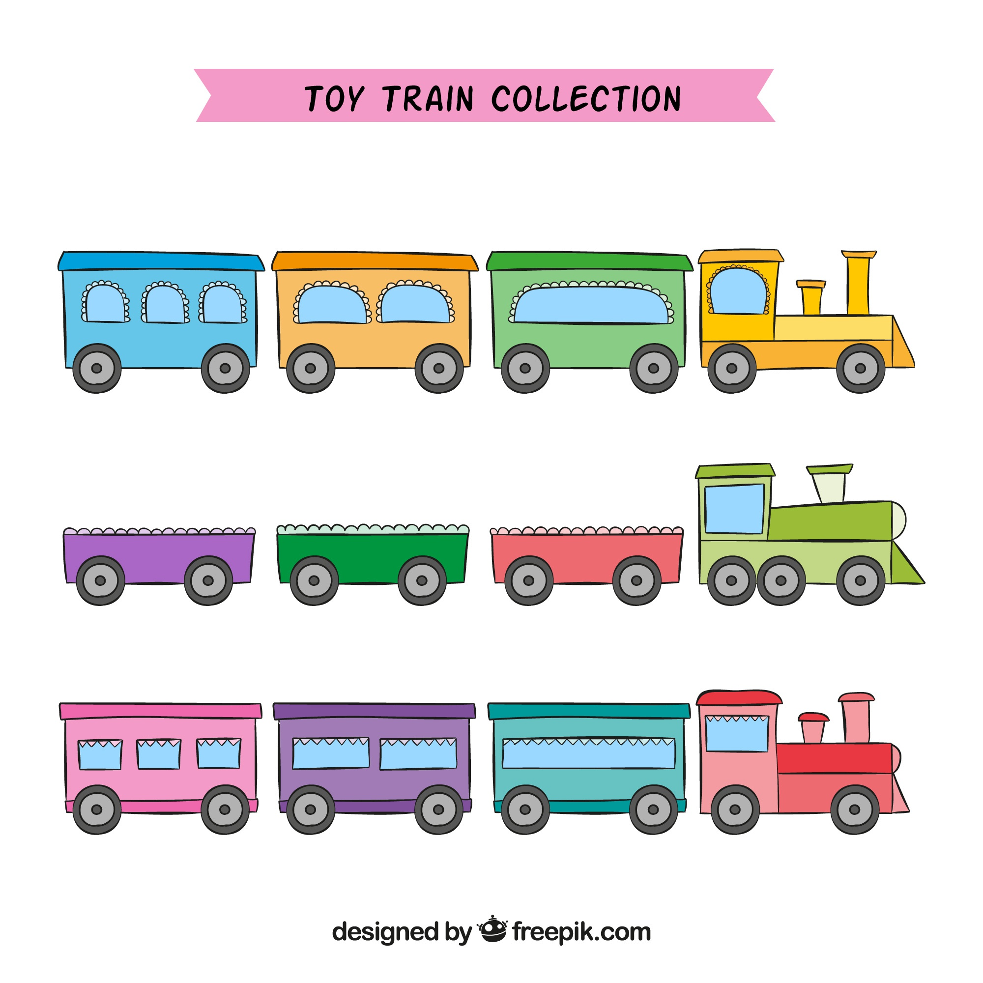 Various toy trains in pastel colors