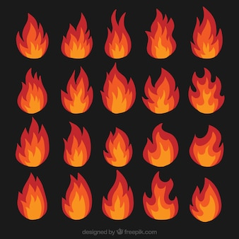 Various types of flames