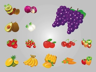 various types of fruits and vegetables