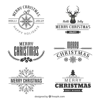 Various vintage merry christmas badges