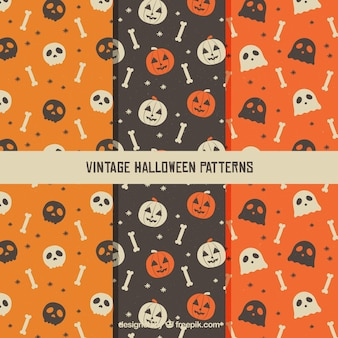 Various vintage patterns with halloween elements
