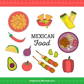 Vartiety of hand drawn typical mexican food