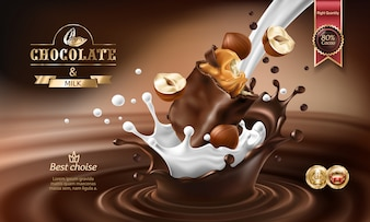 Vector 3D splashes of melted chocolate and milk with falling piece of chocolate bar.