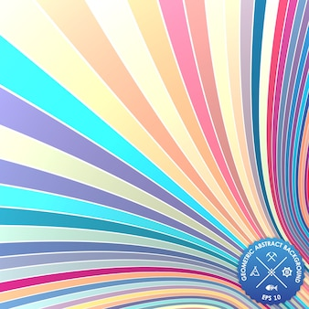 Vector abstract background with curled stripes. Illusion of 3d stripes.