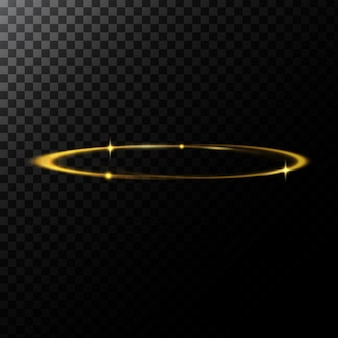 Vector abstract illustration of a light effect in the shape of a golden circle