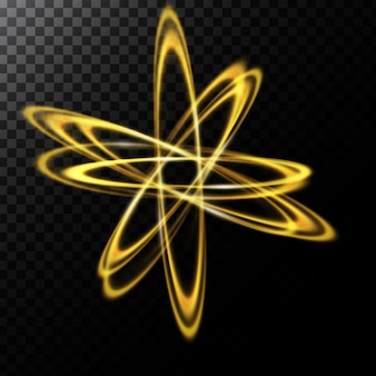 Vector abstract illustration of a light effect in the shape of a golden circles