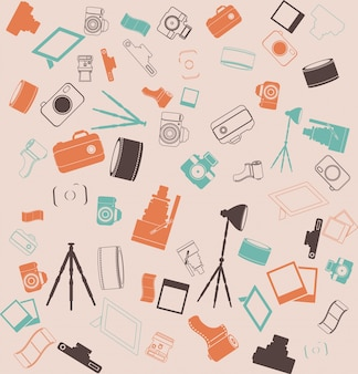 Vector background seamless. Retro camera tripod