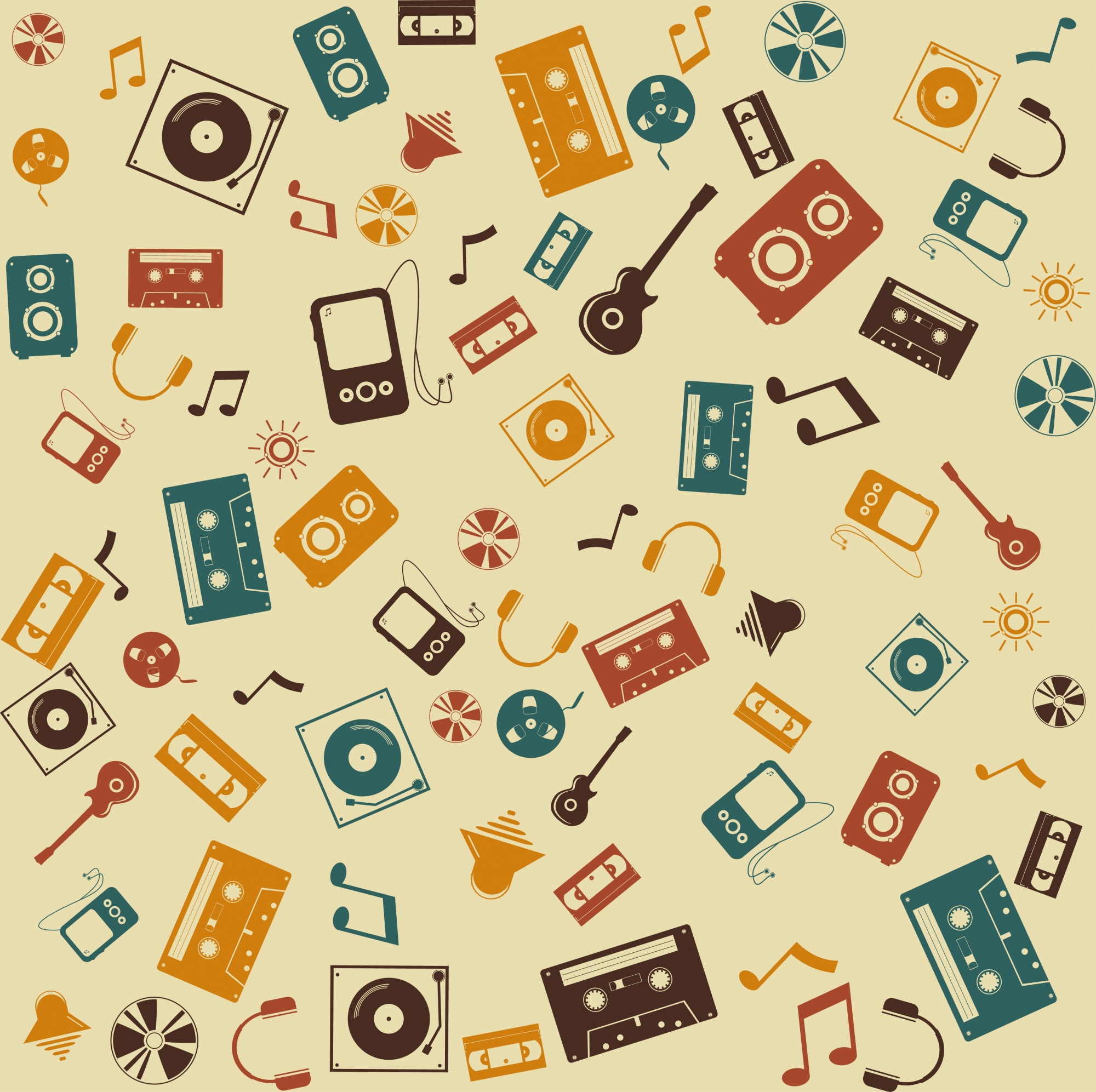 Vector background seamless. Retro Music sound.