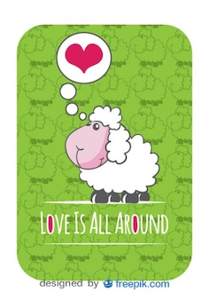 Vector Card with Cute Sheep Cartoon