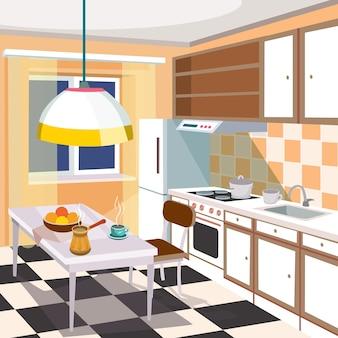 Векторная иллюстрация мультфильм интерьер кухни