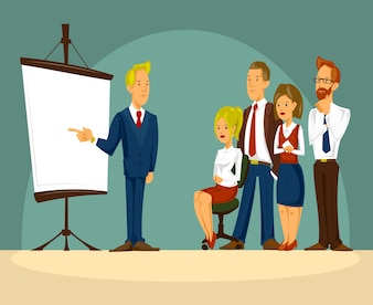 Vector cartoon illustration of a smart businessman in the office a presentation