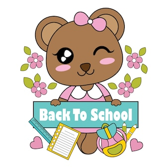 Vector cartoon illustration with cute little bear girl and back to school text suitable for kid t-shirt graphic design, backdrop and wallpaper