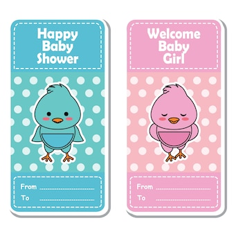 Vector cartoon illustration with cute pink and blue baby chick on polka dot background suitable for Baby shower label design, banner set and invitation card