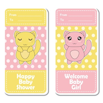 Vector cartoon illustration with cute pink and yellow baby cats on polka dot background suitable for Baby shower label design, banner set and invitation card