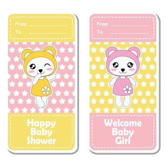 Vector cartoon illustration with cute pink and yellow baby pandas on flowers background suitable for Baby shower label design, banner set and invitation card