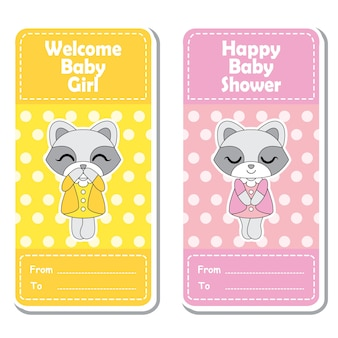 Vector cartoon illustration with cute raccoon girls on pink and yellow polka dot background suitable for Baby shower label design, banner set and invitation card