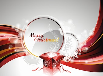 Vector Christmas illustration with gift box on text space