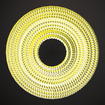Vector circle banner with yellow confetti