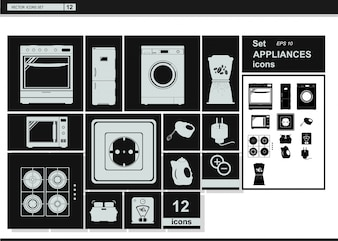 Vector collection icons. Appliances Kitchenware