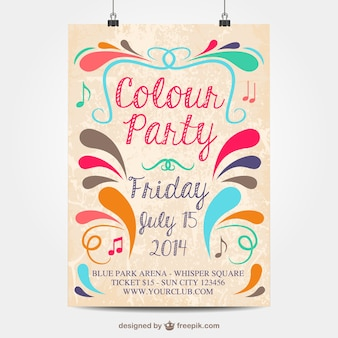Vector colour party mock-up poster