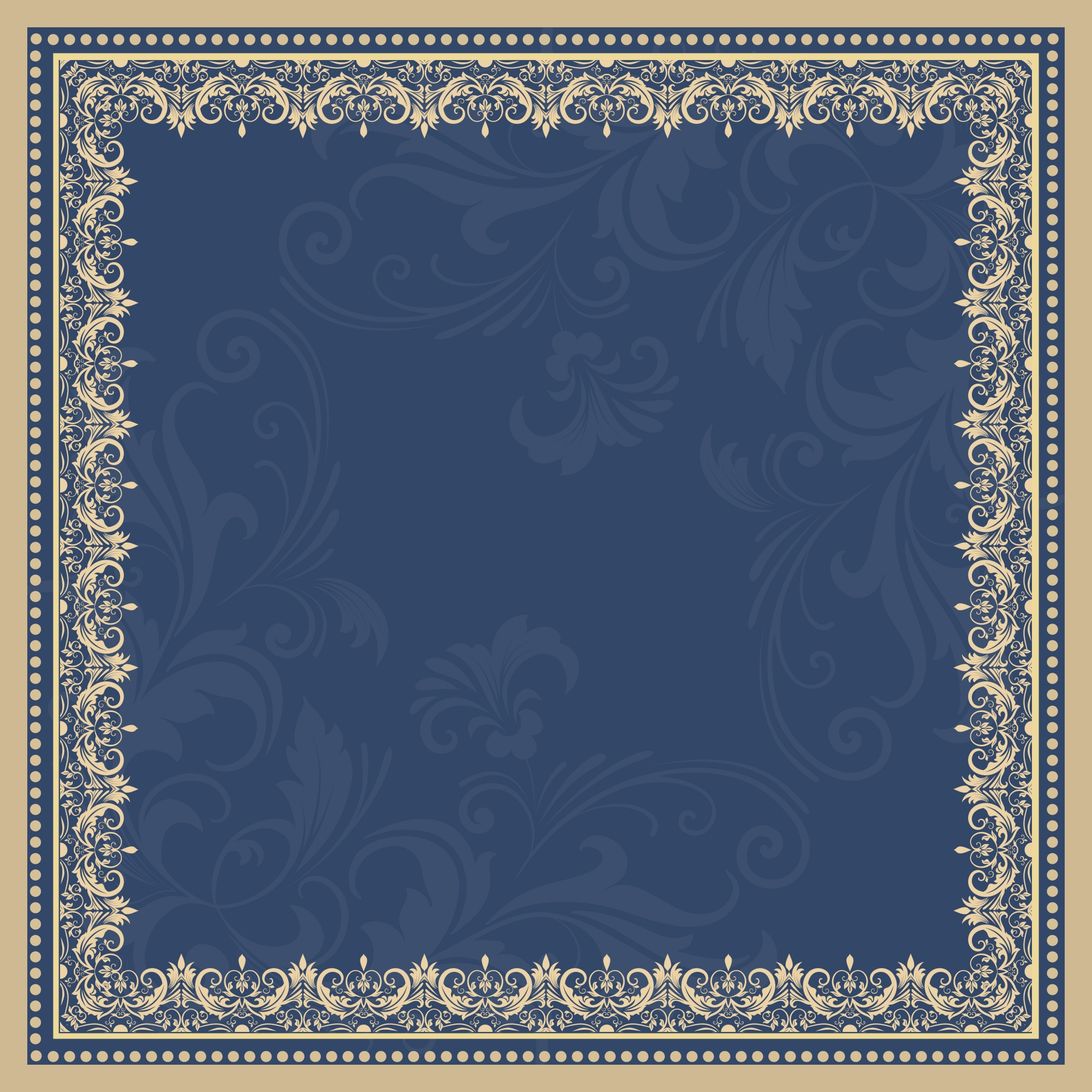 Vector fine floral square frame. Decorative element for invitations and cards. Border element