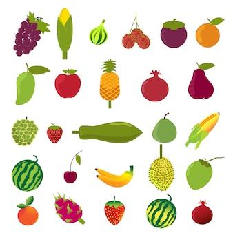 Vector flat design fruits icon set.