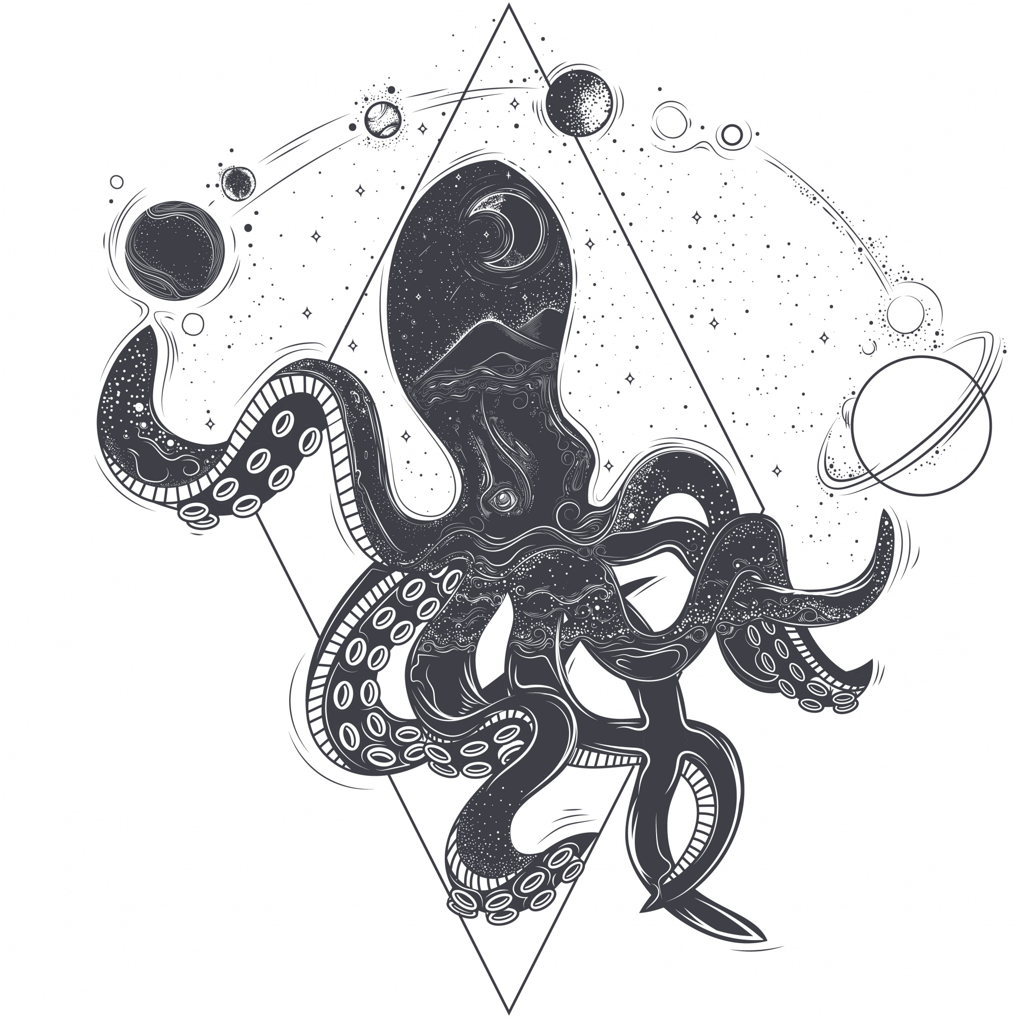 Vector geometric illustration of an octopus and cosmic planets