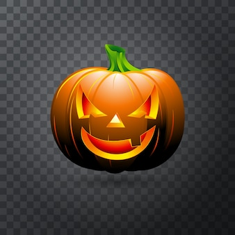 Vector Halloween pumpkin with candle inside. Happy face Halloween pumpkin isolated on transparent background.