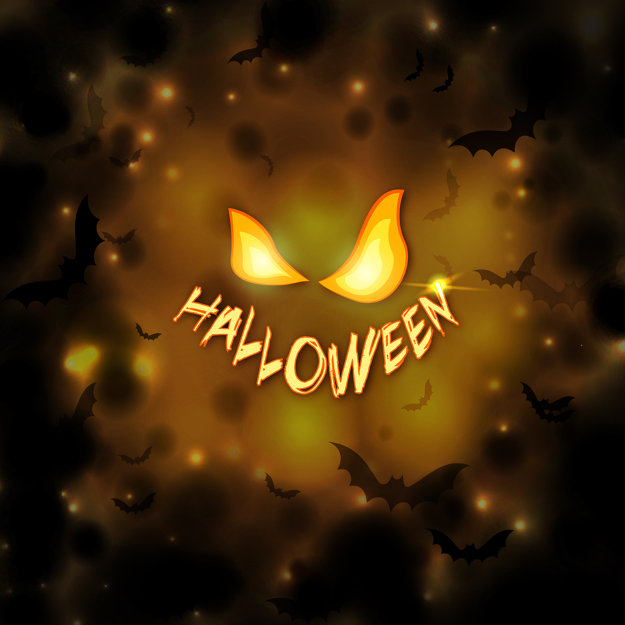Vector Happy Halloween Background with pumpkin Eyes and orange Glowing background with Bats